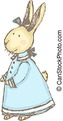 Cute, sketchy vector illustration of a little rabbit dressed up in a Victorian costume.