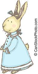 Victorian Rabbit - Cute, sketchy vector illustration of a ...