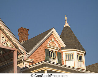 Victorian Roof - This is a colorful shot of a victorian...