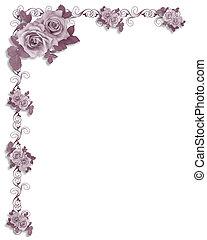 Border design element for Valentine or wedding background, invitation, border or frame with copy space.