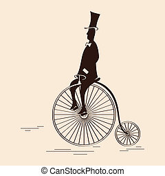 Victorian gentleman riding retro big wheel bicycle