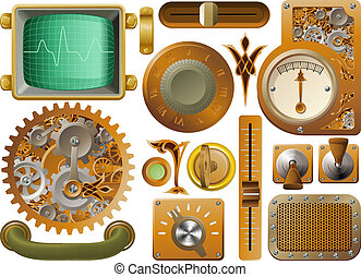 Victorian Steampunk design elements - Industrial Victorian...