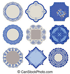 Victorian Tags and Frames - Porcelain Vintage Set - in vector