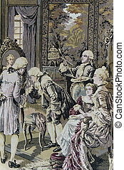 Victorian Tapestry - A victorian tapestry with images of men...
