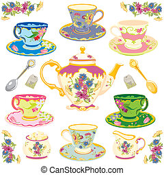 Victorian tea set - Selection of fancy teacups , isolated on...