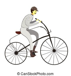 Victorian vintage bicycle vector - Illustration isolated on...