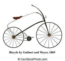 Victorian vintage bicycle vector - Illustration isolated on white background.