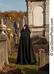 Victorian visitor - Lady with victorian cape visiting a very...