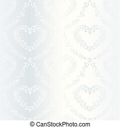 Victorian white satin wedding pattern with hearts