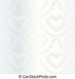 Victorian white satin wedding pattern with hearts - elegant...