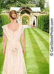 victorian woman in formal garden - portrait of victorian...