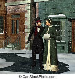 victoriano, pareja, en, invierno