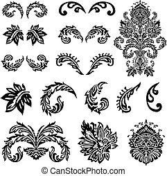 victoriano, vector, ornamento, conjunto