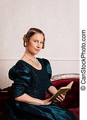 victoriansk kvinde, læsning bog