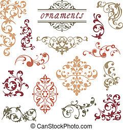 victoriansk, scroll, prydelser