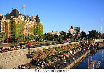Victoria's beautiful inner harbour, Vancouver Island, B.C., ...
