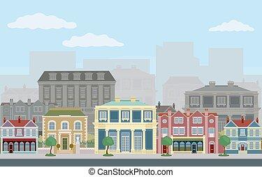 victorien, bâtiments, rue, géorgien, maisons, magasins