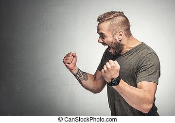 victorieux, gesture., homme, excité
