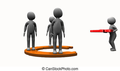 3D men assembling a circle