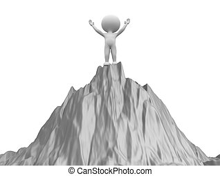 Victorious - 3d people - man, person on top of the mountain...