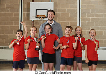 Victorious School Sports Team With Medals And Trophy In Gym