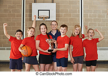 Victorious School Sports Team With Trophy In Gym