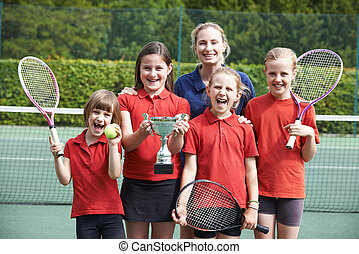 Victorious School Tennis Team With Trophy