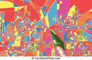 Victorville, California, USA, colorful vector map