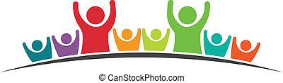 victory., amigos, trabalho equipe, feliz, pessoas, image., oito, equipe, ícone, vetorial, grupo, conceito