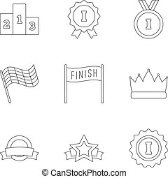 Victory and reward icons set, outline style