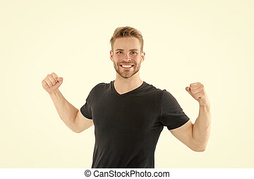 Victory and success. Champion winner. Successful guy celebrating. Handsome cheerful successful man. Leadership and competition. Strong muscular body feeling powerful rear view. Successful athlete