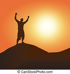 Victory at Sunset - A silhouette of a man atop a mountain...