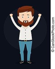 victory., celebrar, vector, ilustración, hombre