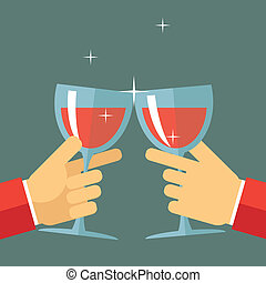 Victory Celebration Success and Prosperity Symbol Hands Holds a Glasses with Drink Icon on Stylish Background Modern Flat Design Vector Illustration