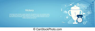 Victory Concept Business Horizontal Web Banner With Copy Space