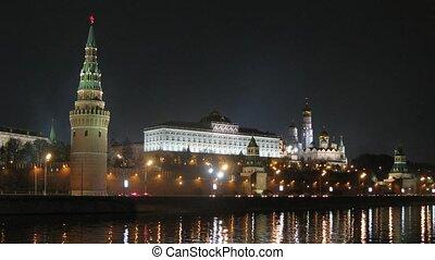 Victory Day Parade training near Kremlin at night, zoom in,...