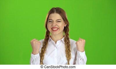 victory., ekran, zielony, zadowolony, student