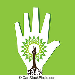 Victory hand make tree inside palm