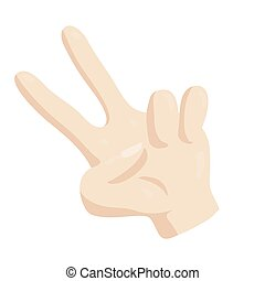 Victory hand sign icon, cartoon style