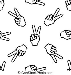 Victory hand sign icon. Hand showing two finger icon seamless pattern on white background. Vector Illustration