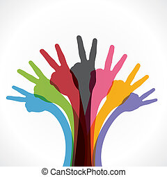 victory hand - colorful victory hand background vector