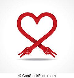 Victory hands make heart shape
