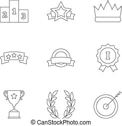 Victory icons set, outline style