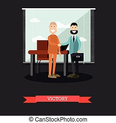 Victory in court case concept vector illustration in flat style