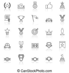 Victory line icons with reflect on white background