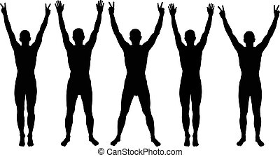 man with hands up silhouettes
