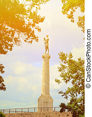 Victory monument at Kalemegdan fortress in Belgrade Serbia