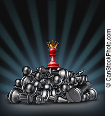 Victory and the winner as a success concept with a red chess...