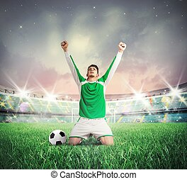 Victory - Concept of victory with soccer player cheering