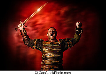 victory - Portrait of a courageous ancient warrior in armor...